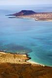 nuvola del cielo della pietra della roccia del porto di Rio del di miramar a Lanzarote spagna Fotografie Stock Libere da Diritti