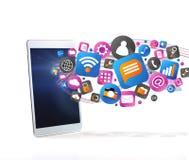 Nuvola del icone di tecnologia che esce una compressa Fotografie Stock Libere da Diritti