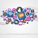 Nuvola del icone di tecnologia su un fondo bianco Immagini Stock