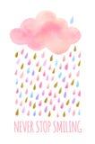 Nuvola dell'acquerello con pioggia Fotografie Stock
