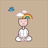 Nuvola dell'arcobaleno di meditazione dell'uomo illustrazione di stock