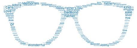 Nuvola dell'etichetta della festa del papà sotto forma dei vetri Immagini Stock