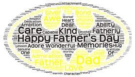 Nuvola dell'etichetta della festa del papà sotto forma del simbolo dell'ordinanza Immagine Stock Libera da Diritti