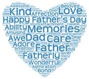 Nuvola dell'etichetta della festa del papà sotto forma di cuore blu Fotografia Stock