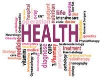 Nuvola dell'etichetta di salute illustrazione di stock