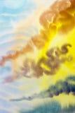 Nuvola della pittura dell'acquerello, cielo variopinto di raincloud in aria Immagine Stock Libera da Diritti