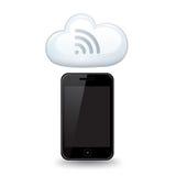 Nuvola dello Smart Phone di WiFi Fotografie Stock Libere da Diritti