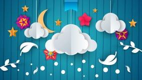 Nuvola di carta del fumetto, fiore, ramo, foglia, piuma illustrazione di stock