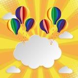 Nuvola di carta dell'insegna di arte sul cielo con il pallone variopinto Illustrazione di vettore Fotografia Stock