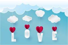 Nuvola di carta della montagna del cuore di arte nel concetto del cielo ed illustrazione Fotografia Stock
