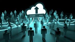 Nuvola di Digital che illumina un gruppo di persone la rappresentazione 3D Immagine Stock Libera da Diritti