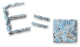 Nuvola di galleggiamento di parola E=mc2 Fotografia Stock Libera da Diritti