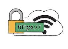 Nuvola di HTTPS WIFI disegnata a mano Fotografia Stock Libera da Diritti