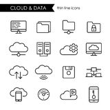 Nuvola di Internet e linea sottile insieme di archiviazione di dati dell'icona Fotografia Stock Libera da Diritti