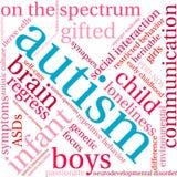 Nuvola di parola di autismo Immagini Stock