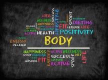 Nuvola di parola del corpo, forma fisica, sport, concetto di salute sulla lavagna immagine stock