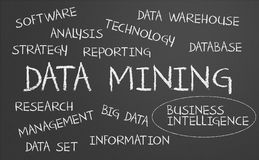 Nuvola di parola del data mining Fotografia Stock