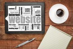 Nuvola di parola del sito Web sulla compressa digitale Fotografia Stock Libera da Diritti