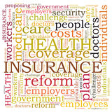 Nuvola di parola dell'assicurazione malattia Fotografie Stock Libere da Diritti