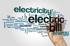 Nuvola di parola della fattura elettrica fotografie stock libere da diritti