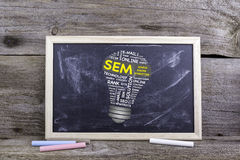 Nuvola di parola della lampadina di SEM Search Engine Marketing Bordo di gesso sulla a Immagine Stock