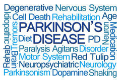 Nuvola di parola della malattia del Parkinson Fotografie Stock