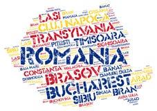 Nuvola di parola delle destinazioni di viaggio della cima della Romania Immagini Stock
