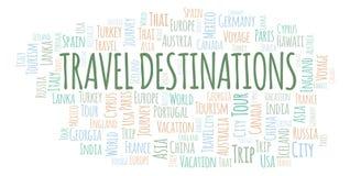 Nuvola di parola delle destinazioni di viaggio illustrazione di stock