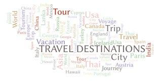 Nuvola di parola delle destinazioni di viaggio royalty illustrazione gratis