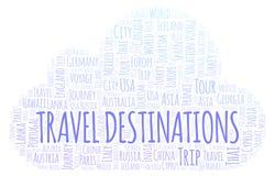 Nuvola di parola delle destinazioni di viaggio illustrazione vettoriale