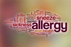 Nuvola di parola di allergia con fondo astratto Immagini Stock Libere da Diritti