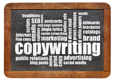 Nuvola di parola di Copywriting sulla lavagna Fotografia Stock