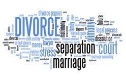 Nuvola di parola di divorzio Fotografie Stock