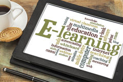 Nuvola di parola di e-learning Fotografie Stock Libere da Diritti