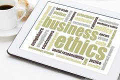 Nuvola di parola di etiche imprenditoriali Immagini Stock