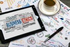 Nuvola di parola di etiche imprenditoriali Fotografia Stock