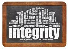 Nuvola di parola di integrità sulla lavagna fotografia stock libera da diritti