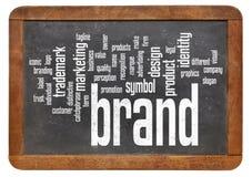 Nuvola di parola di marca sulla lavagna Fotografie Stock Libere da Diritti