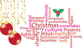 Nuvola di parola di Natale nel rosso Fotografia Stock Libera da Diritti