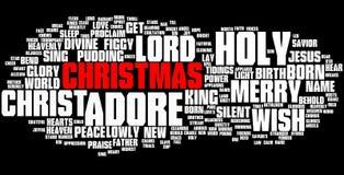 Nuvola di parola di Natale, testo rosso Fotografia Stock Libera da Diritti