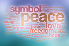 Nuvola di parola di pace con fondo astratto Fotografie Stock