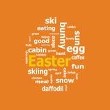 Nuvola di parola di Pasqua su un fondo arancio Fotografie Stock