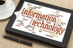 Nuvola di parola di tecnologia dell'informazione Fotografie Stock Libere da Diritti