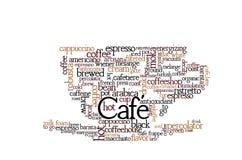 Nuvola di parola di tema del caffè Fotografia Stock