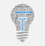 Nuvola di parola di vettore della lampadina dell'innovazione Fotografia Stock