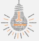 Nuvola di parola di vettore della lampadina dell'innovazione Fotografie Stock Libere da Diritti