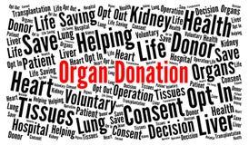 Nuvola di parola di donazione di organo illustrazione di stock