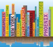 Nuvola di parola - forma dell'orizzonte con i nomi delle città/città di U.S.A. Immagini Stock