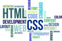 Nuvola di parola - HTML e css Fotografia Stock