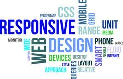 Nuvola di parola - web design rispondente Immagini Stock